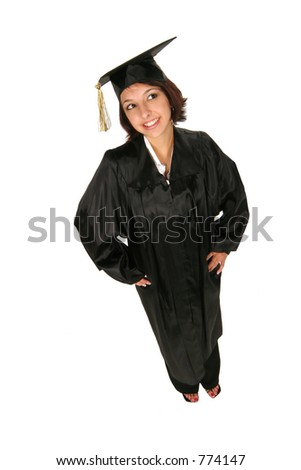 graduate in cap and gown standing on white background - stock photo