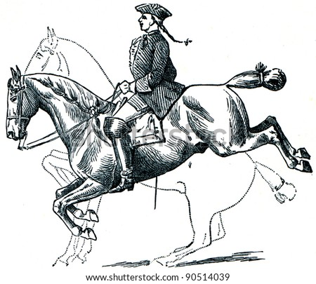 Graduate School of Riding - Caprioli, dotted line denotes the position of a horse before a jump and after - an illustration of encyclopedia publishers Education, St. Petersburg, Russian Empire, 1896 - stock photo