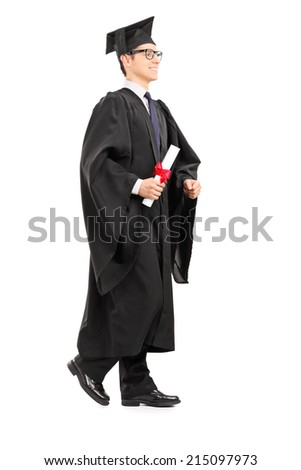 Graduate student walking with diploma in his hand isolated on white background - stock photo