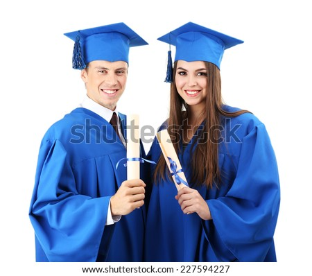 Graduate students wearing graduation hat and gown, isolated on white - stock photo