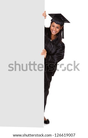 Graduate Woman Holding Placard. Isolated On White - stock photo