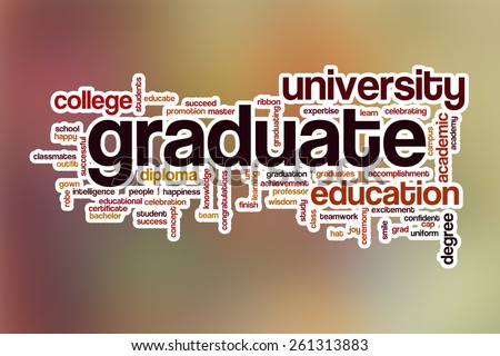 Graduate word cloud concept with abstract background - stock photo