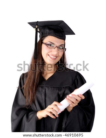 Graduated young woman with diploma - stock photo