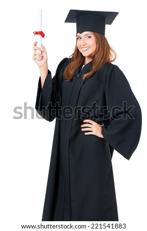 Graduating student girl - stock photo