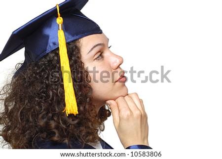 Graduating woman deciding over her future - stock photo