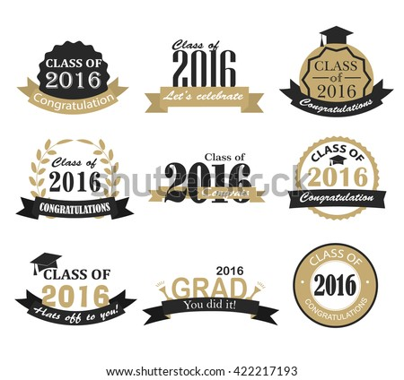 Graduation 2016 badges, signs and symbols with graduation hat and text in retro style, illustration. Congratulation to graduates of 2016 year - stock photo