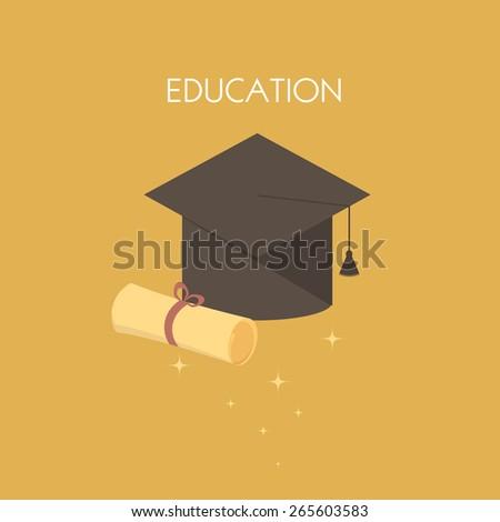 Graduation cap and diploma. illustration icon - stock photo