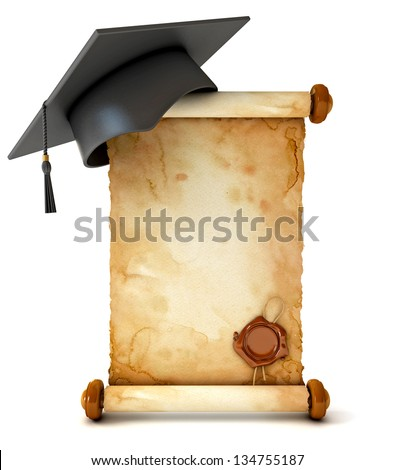 Graduation cap and diploma. Unfurled an ancient scroll with wax seal. Conceptual illustration. Isolated on white background. 3d render - stock photo