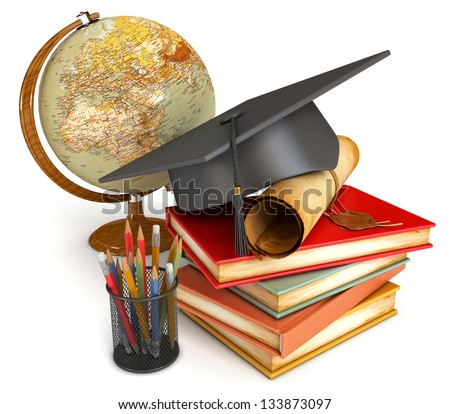 Graduation cap, diploma, stack of books, globe, and various colour pencils in cup. Conceptual illustration. Isolated on white background. 3d render - stock photo