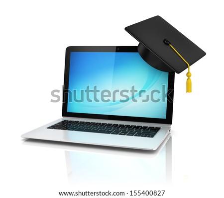 graduation cap on laptop - e-learning 3d concept - stock photo