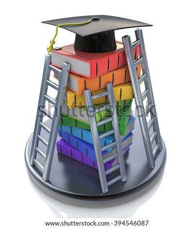 Graduation cap on the top of stack of books with ladders - Books step education in the design of information related to education - stock photo