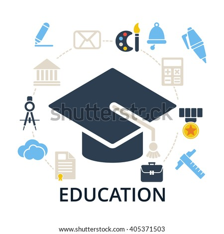 Graduation cap with education icons. Academic hat and icons for education training and tutorials. Education flat illustration on white. - stock photo