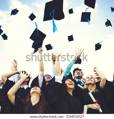 Graduation Caps Thrown Happiness Success Concept - stock photo