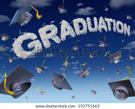 Graduation celebration concept as a group of mortar boards thrown up to the sky with the word for graduate success made from clouds as an education symbol of university or school completion. - stock photo