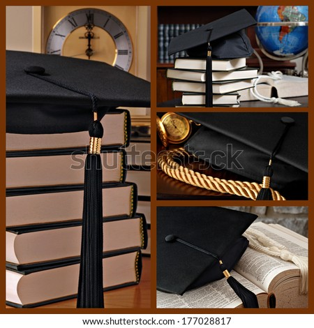 Graduation collage includes still life images of black graduation cap in various compositions.  (dictionary is opened to and focused on the word 'graduation') - stock photo