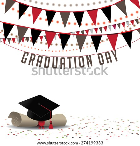 Graduation Day background royalty free stock illustration for greeting card, ad, promotion, poster, flier, blog, article, social media, marketing - stock photo