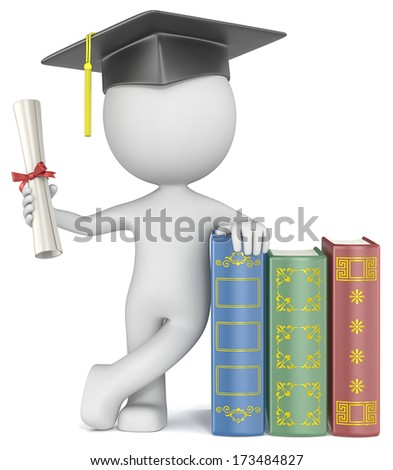Graduation. Dude the Student with hat holding diploma. - stock photo