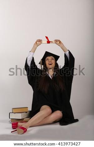 Graduation. graduated cool girl celebrates - stock photo