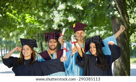 Graduation: Group of Students Look to the Future - stock photo