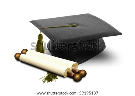 Graduation hat and scroll - stock photo