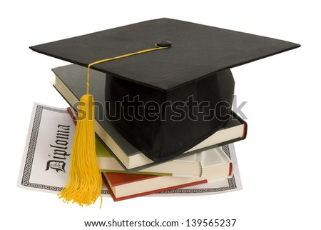 Graduation Hat With Books, Diploma and Yellow Tassel/ Get And Education And Graduate/ Isolated On A White Background/ Studio Shot - stock photo