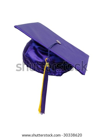 Graduation mortar board with tassel used during ceremonies - path included - stock photo