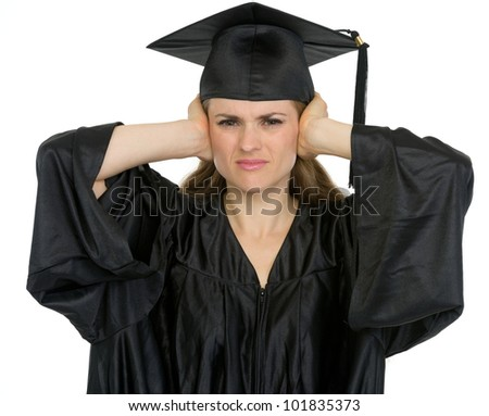Graduation student girl making hear no evil gesture - stock photo