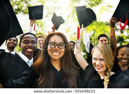 Graduation Students Education Degree Achievement Concept - stock photo