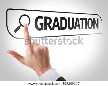 Graduation written in search bar on virtual screen - stock photo