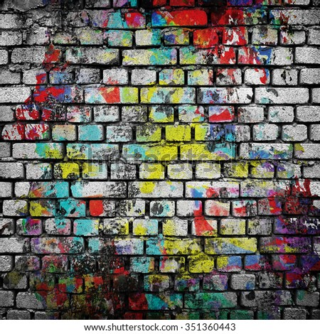 graffiti brick wall - stock photo