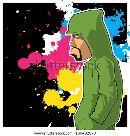Graffiti character on a dirty background. Raster version. - stock photo