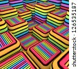 graffiti spray line soft cube 3d render copmposition - stock photo