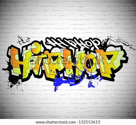 Graffiti wall background, urban art - stock photo
