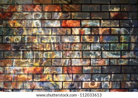 Graffiti wall, grunge background - stock photo