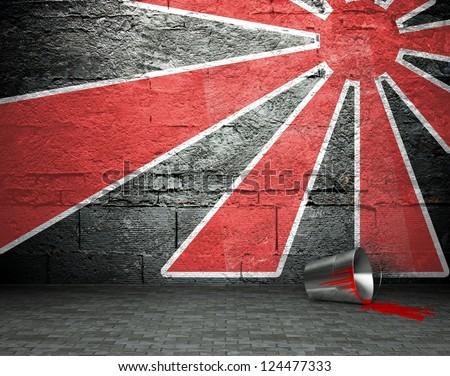 Graffiti wall, street art background - stock photo