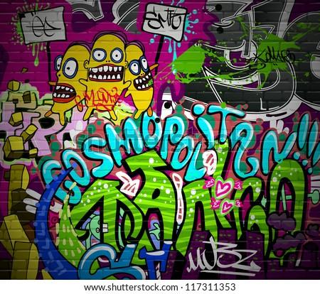 Graffiti wall urban art background. Grunge hip hop artistic design - stock photo