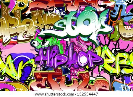 Graffiti wall. Urban art background. Seamless hip hop texture - stock photo