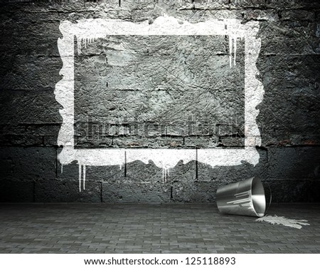Graffiti wall with frame, street art background - stock photo