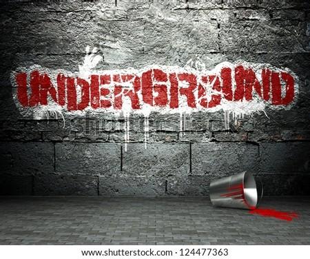 Graffiti wall with underground, street art background - stock photo