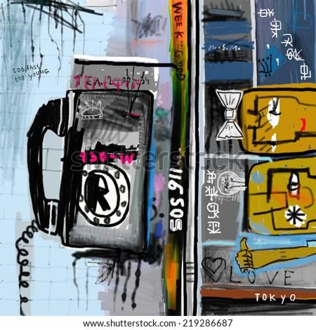 Graffiti with telephone - stock photo