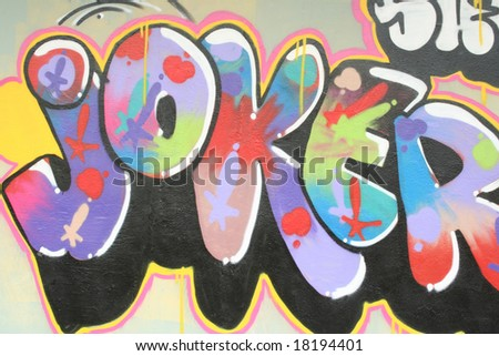 Graffiti with the word joker in happy colors - stock photo