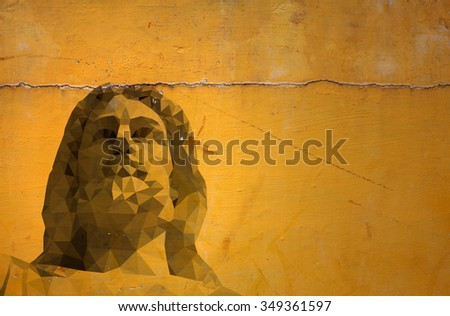 Grafitti of Jesus Christ on a grungy orange color wall.  - stock photo