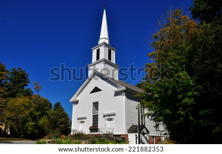 Grafton, Vermont:   The somber wooden White Church was built in 1858 * - stock photo
