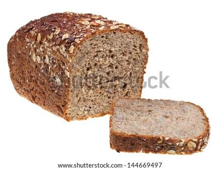 grain bread loaf and sliced hunch of bread isolated on white background - stock photo
