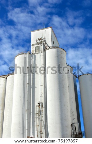 Grain elevator is icon in the small community of Andale, Kansas.  White cylinder tower into a vivid blue sky. - stock photo