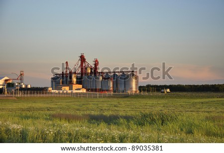 Grain elevator on the Canadian prairies - stock photo