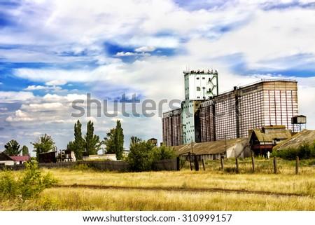 grain silo - stock photo