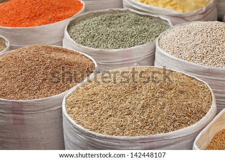 Grains for sale at the market - stock photo