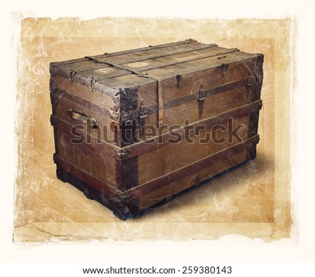 Grainy and gritty image of an old steamer trunk. - stock photo
