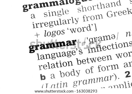 Grammar Dictionary Definition closeup black and white - stock photo